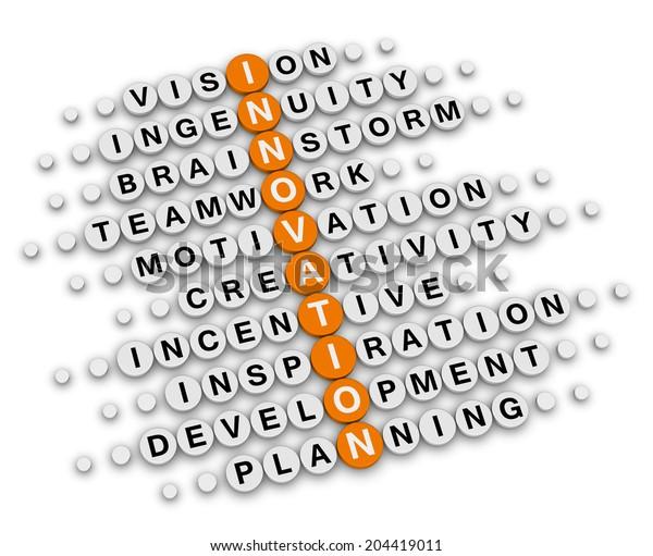 innovation concept (orange-white crossword puzzles series)