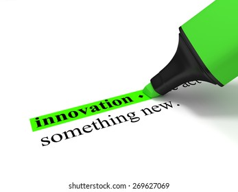 """Innovation - The dictionary-word """"innovation""""marked with a green marker."""