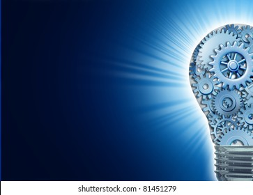 Innovation with ideas and concepts featuring a light bulb with gears and cogs working together as a team representing teamwork and financial planning with strategy on black with radiating light.