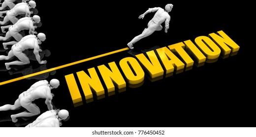 Innovation Leader with a Man Having a Head Start 3D Render