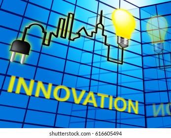 Innovation Lightbulb Shows Reorganization Transformation And Restructuring 3d Illustration