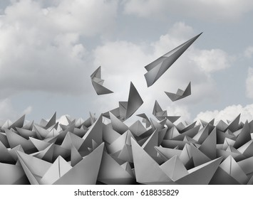 Innovation and opportunity concept as a paper airplane breaking out from a group of origami boats as a business success metaphor for change and evolution to succeed in a 3D illustration style.