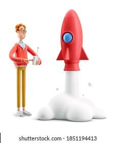 Innovation und Startup-Konzept. Nerd Larry startet eine Rakete. 3D-Abbildung.