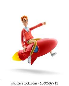 Innovation und Startup-Konzept. Nerd Larry fliegt auf einer Rakete. 3D-Abbildung.