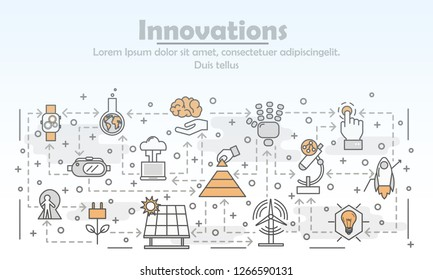 Innovations advertising poster banner template. Wind and solar panel energy, chemistry innovations etc. thin line art flat style design elements, icons for web banners and printed materials.