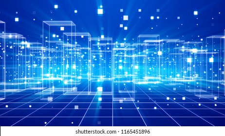 An innovative 3d illustration of a futuristic virtual city with many see-through buildings placed on a network in the blue background. They have the same configuration and look pragmatic.