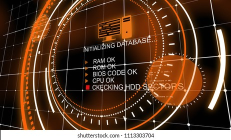 An innovative 3d illustration of a head-up display initializing database and checking CPU codes from short texts in the center of several spinning orange circles in the black backdrop