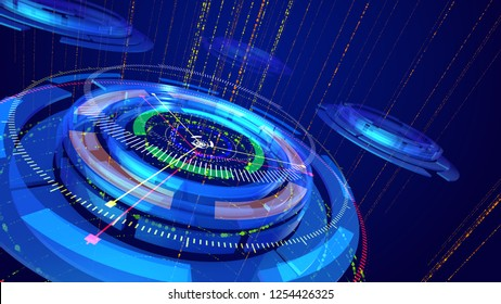 Innovative 3d illustration of sparkling multishaped blue and celeste rings resembling a modern compass placed askew with several narrow arrows spinning around in the dark blue backdrop.