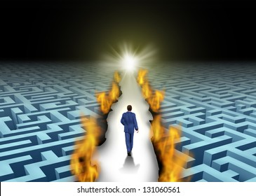 Innovative leadership and trail blazing or trailblazing business concept with a businessman walking through a maze or labyrinth that is open due to a burning path as a symbol of creative solutions.