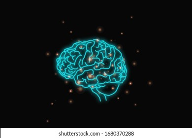 Innovative technology black brain background image