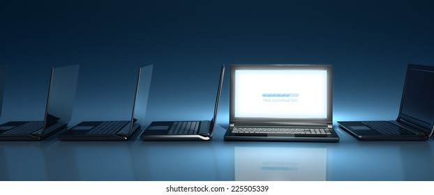 Innovative top-nocht laptop computer on-line on blue background