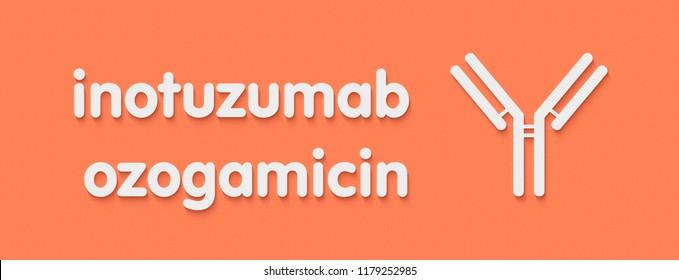 Inotuzumab ozogamicin antibody-drug conjugate. Used in treatment of acute lymphoblastic leukemia. Generic name and stylized antibody representation.