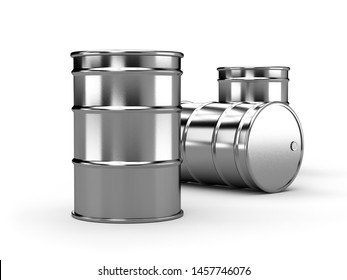 Inox silver alu oil barrels isolated on white background. 3d render