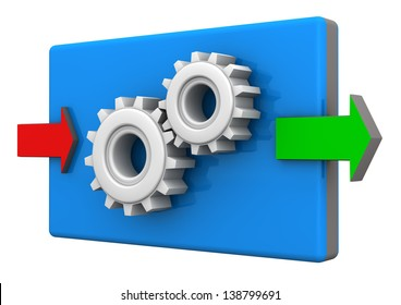 Input and ouput arrows with gears on the white background.