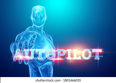 Inscription Autopilot, hologram image of artificial intelligence, Scans the road, manages independently, transport technologies. 3D illustration, 3D render. Copy space