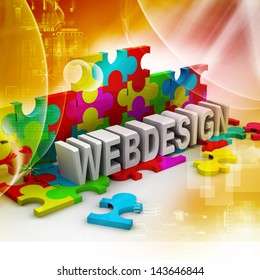 Inscription of colorful puzzles - Web Design