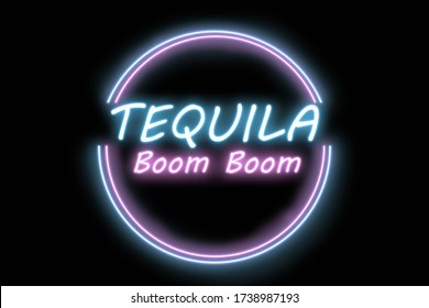 The inscription of the drink based on tequila called Boom Boom, colorful neon, illustration