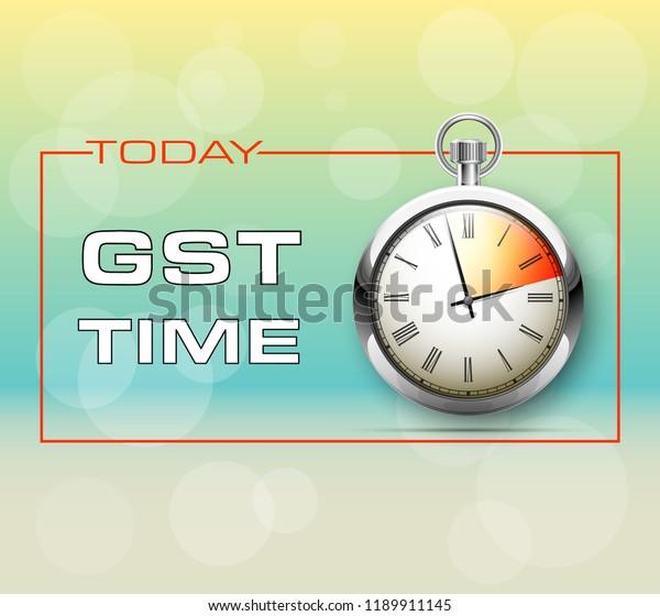 Inscription Gst Alarm Timer Clock Drawn Stock Illustration