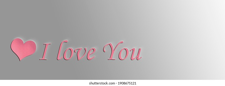 the inscription on the picture I love you. valentine's day concept. text on gray background. pink heart on light texture