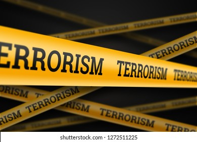 Inscription terrorism on a yellow barrage on a black background. The concept of stop terror, terrorist attack, explosions, attempted.