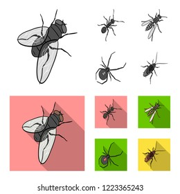An insect arthropod, an osa, a spider, a cockroach. Insects set collection icons in monochrome,flat style bitmap symbol stock isometric illustration web.