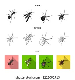 An insect arthropod, an osa, a spider, a cockroach. Insects set collection icons in black,flat,outline style bitmap symbol stock isometric illustration web.