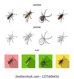 An insect arthropod, an osa, a spider, a cockroach. Insects set collection icons in cartoon,outline,flat style bitmap symbol stock isometric illustration web.