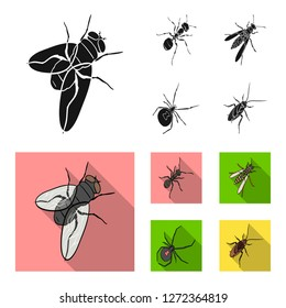 An insect arthropod, an osa, a spider, a cockroach. Insects set collection icons in black,flat style bitmap symbol stock isometric illustration web.