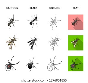 An insect arthropod, an osa, a spider, a cockroach. Insects set collection icons in cartoon,black,outline,flat style bitmap symbol stock isometric illustration web.