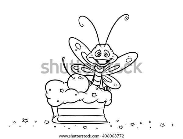 Insect Butterfly Cake Dessert Coloring Pages Stock