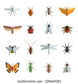 Insect icon flat set with mosquito grasshopper spider ant isolated  illustration