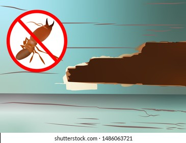 Insects eating wood, Anti-termite red icon, termite in anti banner, do not termite