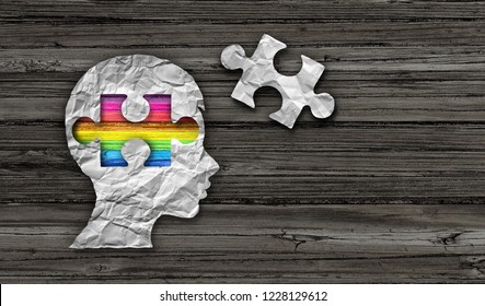 Inside autism concept of autistic development disorder awareness as a symbol of a communication and social behavior psychology as crumpled paper on rustic wood in a 3D illustration style.