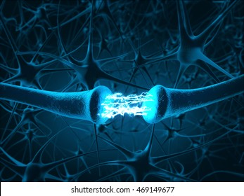 Inside the brain. Concept of neurons and nervous system.3D rendering.