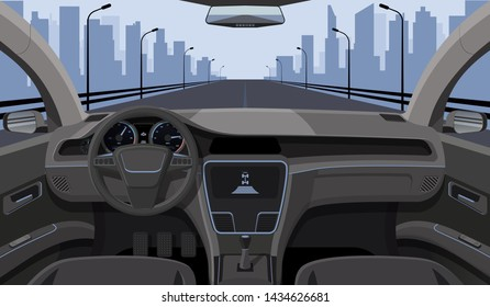 Inside car driver view with rudder, dashboard front panel and highway in windshield cartoon highway illustration. Interior of automobile, drive speed car