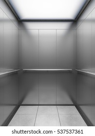 Inside of empty elevator cabin. 3D illustration.