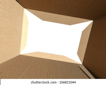 Inside an empty open cardboard box with white background