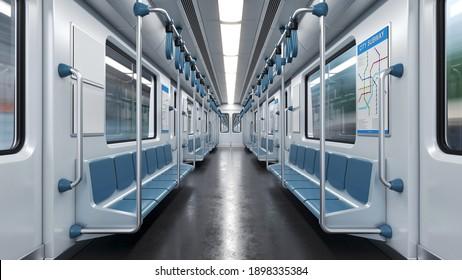 Innen leere U-Bahn-Auto, Metrowagen leeres Interieur 3D-Rendering