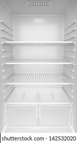 Inside of an empty white fridge
