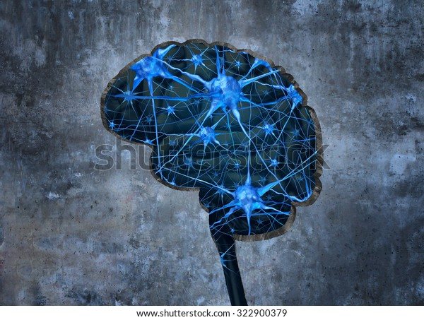 Inside human neurology research concept examining the mind of  human memory loss or cells due to dementia and other neurological diseases as a hole shaped as a brain in a cement wall with neurons.