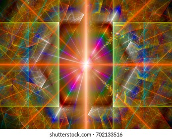 Inside of large hadron collider, quantum physics, computer generated abstract background, 3D rendering