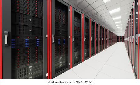 Inside the long server room tunnel 3d render