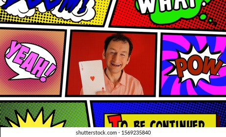 Inside a panel from a comic book page layout: a funny ugly man showing a huge poker card (ace of hearts).