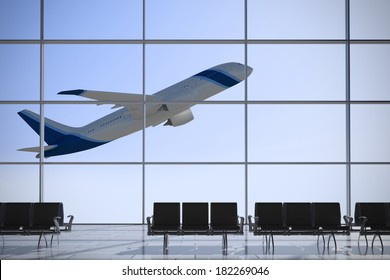 Inside Terminal with plane shape taking off on a sunny day