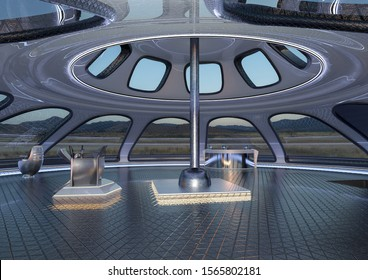 inside the ufo space ship, 3d illustration