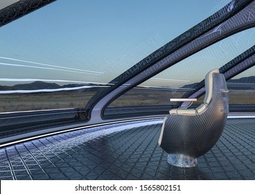 inside the ufo space ship close up on alien chair, 3d illustration