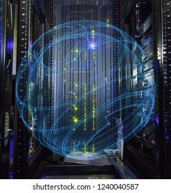 inside view of empty rack modern supercomputer data center