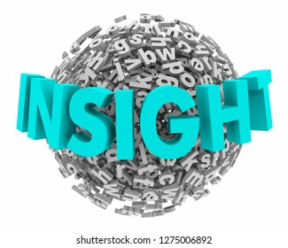 Insight Analysis  Word Letter Sphere Ball 3d Illustration