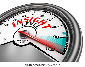 Insight per cent conceptual meter indicate hundred, isolated on white background