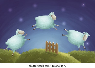 Insomnia. Calm night illustration counting sheep are jumping through a fence